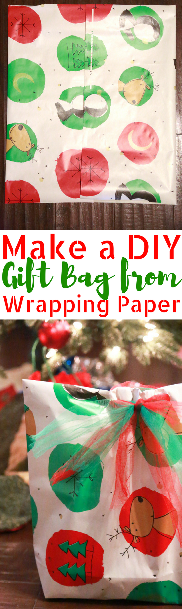 Need to wrap an odd-shaped present and don't have a gift bag at home. Make your own DIY Gift Bag from wrapping paper with this easy to follow tutorial.