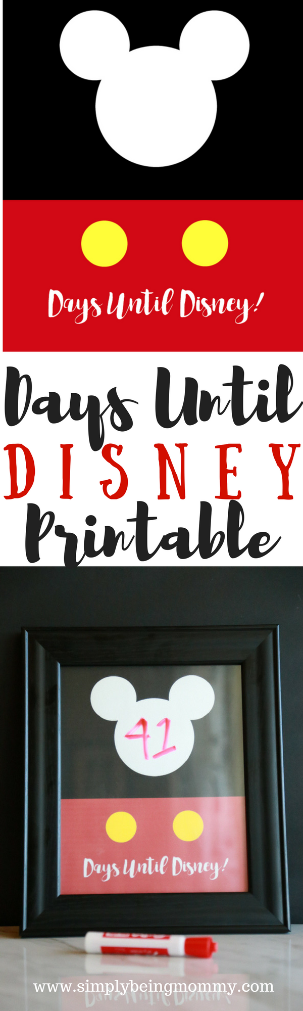 photograph relating to Disney Countdown Printable titled Times Until eventually Disney Printable Only Currently being Mommy