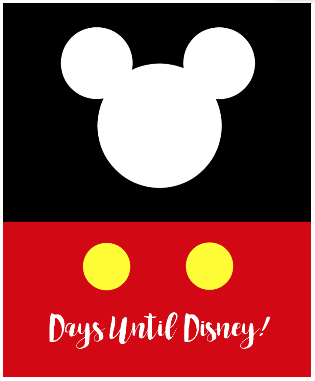 Headed to Disney? Print this Day Until Disney Printable for an easy-to-see erasable countdown for your children.