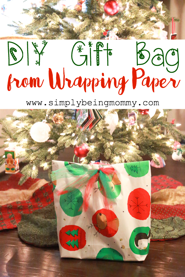 diy gift bag from wrapping paper simply being mommy. Black Bedroom Furniture Sets. Home Design Ideas