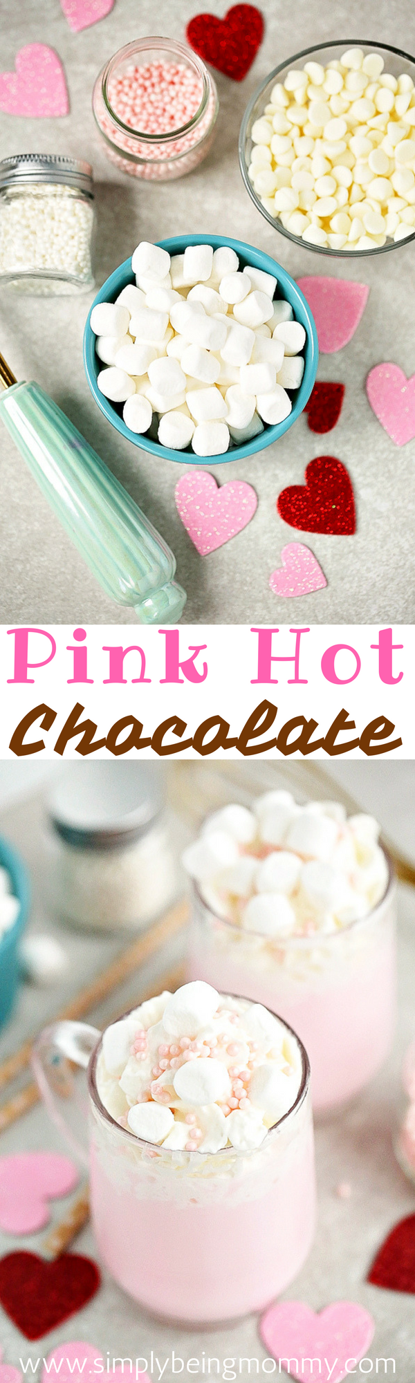 Celebrate Valentine's Day with this warm-you-up, delicious Pink Hot Chocolate. It's super simple to make.