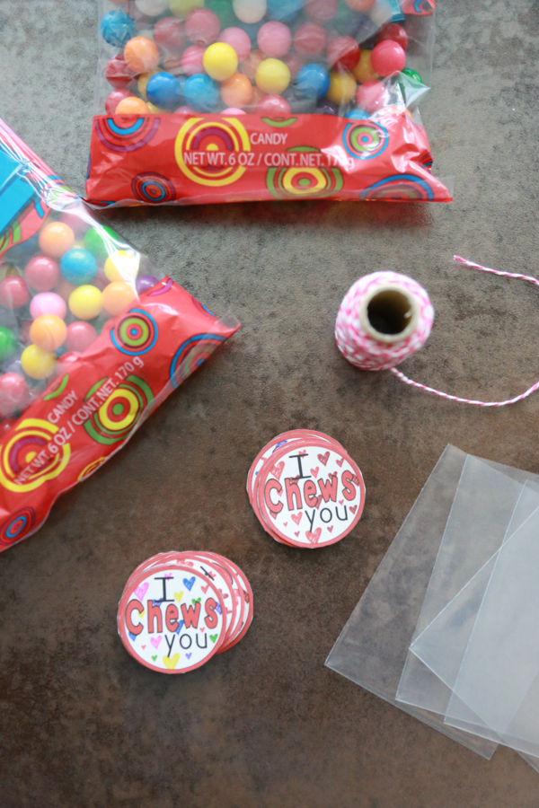 bags of gum balls with I Chews You circles cut out from the printable