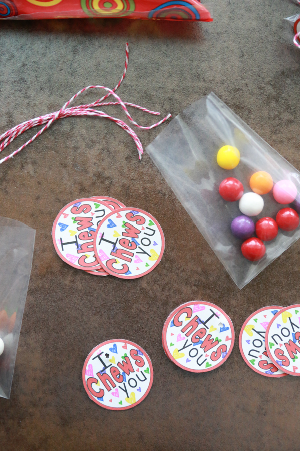 I Chews You cut out printables with a bag of gum balls
