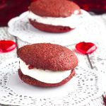 Red Velvet Mini Whoopie Pies With Marshmallow Cream Cheese Frosting