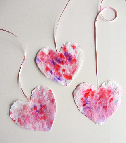 3 watercolor hearts on string
