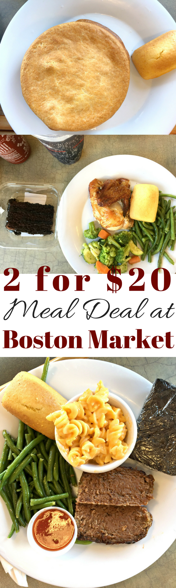 Take advantage of the 2 for $20 meal deal at Boston Market and get a night off from cooking and cleaning mom!