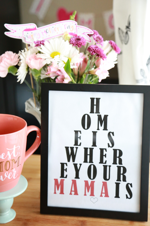 This Home is Where Your Mama is Eye Chart Printable is the perfect add-on to your Mother's Day gift.