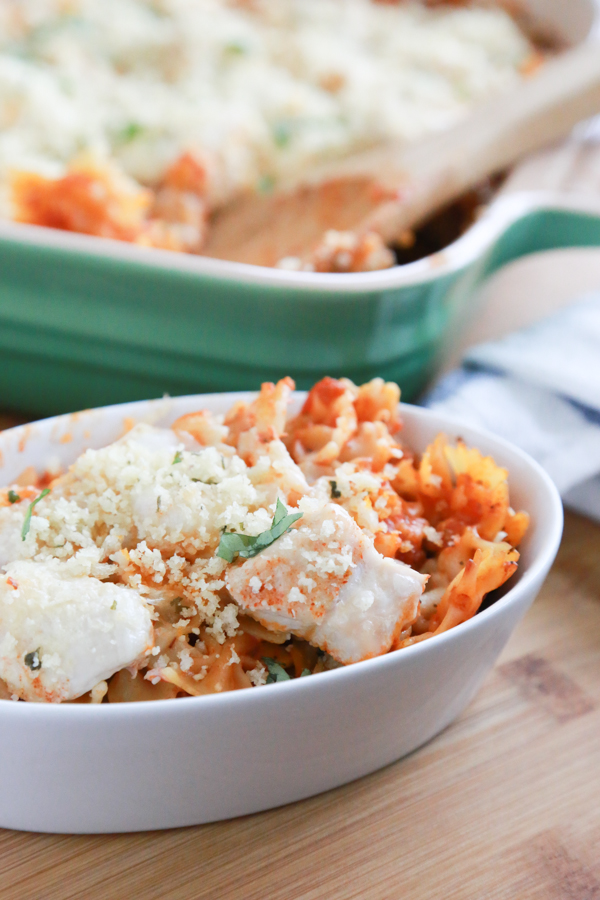 Throw this Skinny Chicken Parmesan Pasta Bake together and let the oven to most of the work for you.