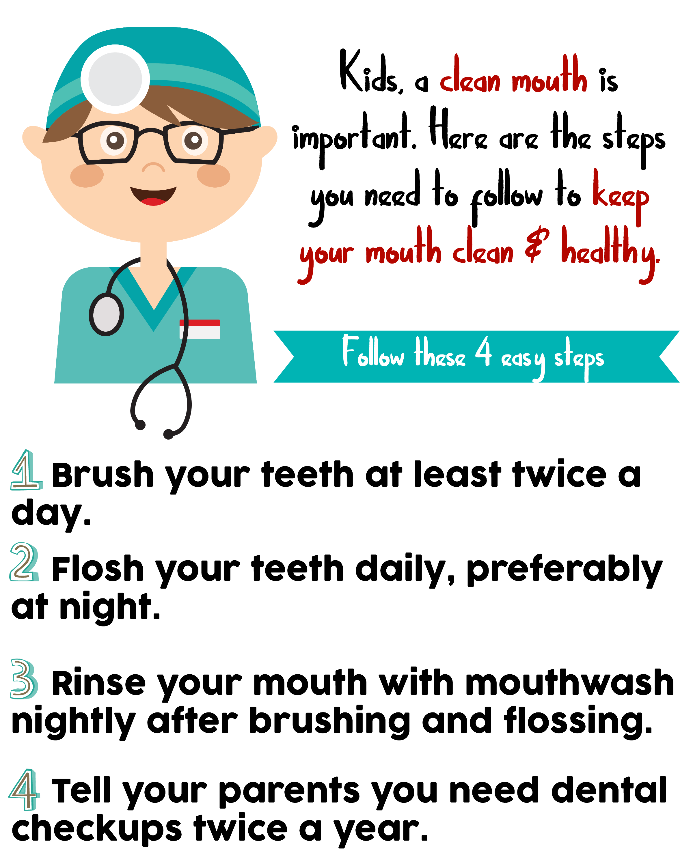 Your child's smile is so important. Use this Steps to a Healthy Mouth Printable for Kids to help your children develop healthy oral habits.