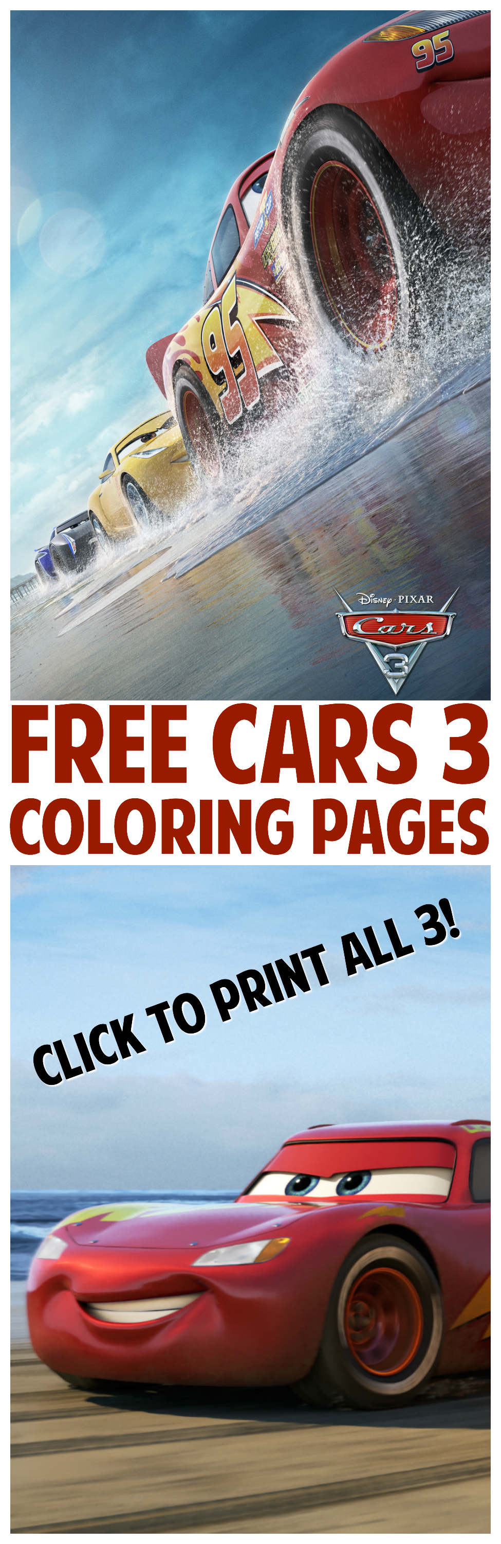 Free coloring cars - Free Cars 3 Coloring Pages
