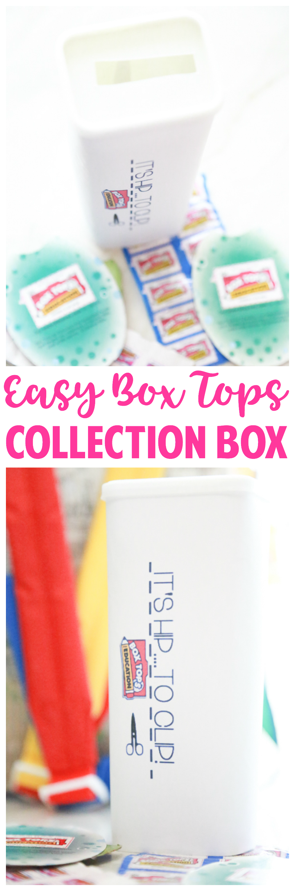 Using things I had laying around the house, I crafted this Easy Box Tops Collection Box to store all clipped Box Tops. Learn how to make your own.
