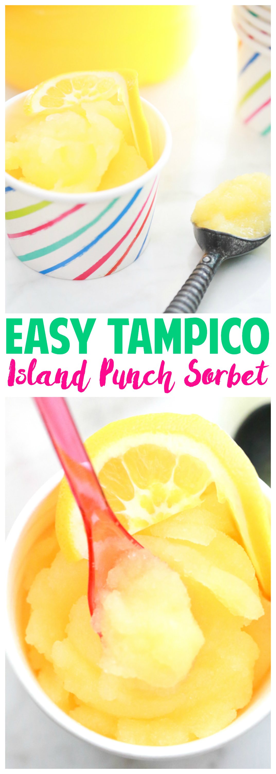 No ice cream maker needed for this one. Make this super Easy Tampico Island Punch Sorbet to enjoy during the hot days of summer.