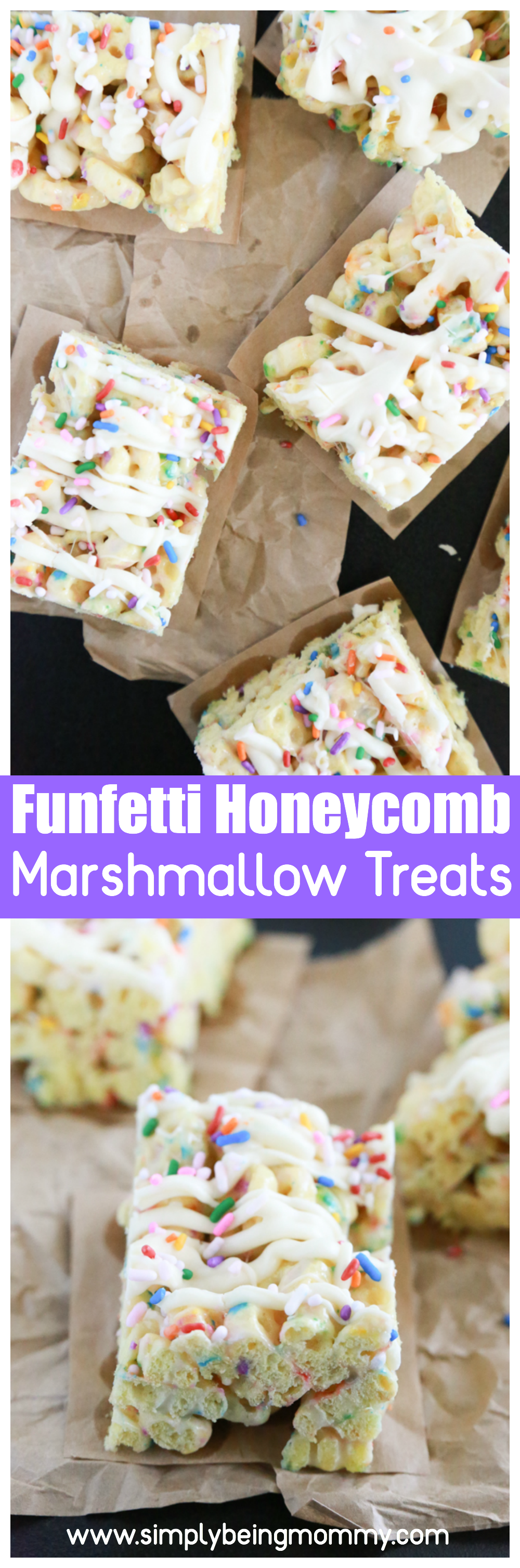 Sprinkles make everything better. Make these delicious Funfetti Honeycomb Marshmallow Treats for a celebration or just because.