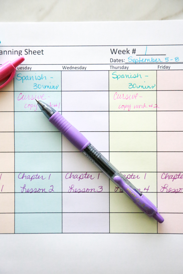 Are you a Homeschool mama? If so, print out this FREE Homeschool Lesson Planning Sheet to help you plan the coming school year!