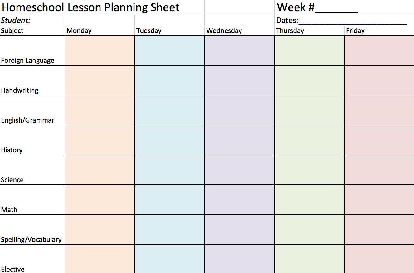 Homeschool mama? Print a Homeschool Lesson Planning Sheet to help you plan the school year!