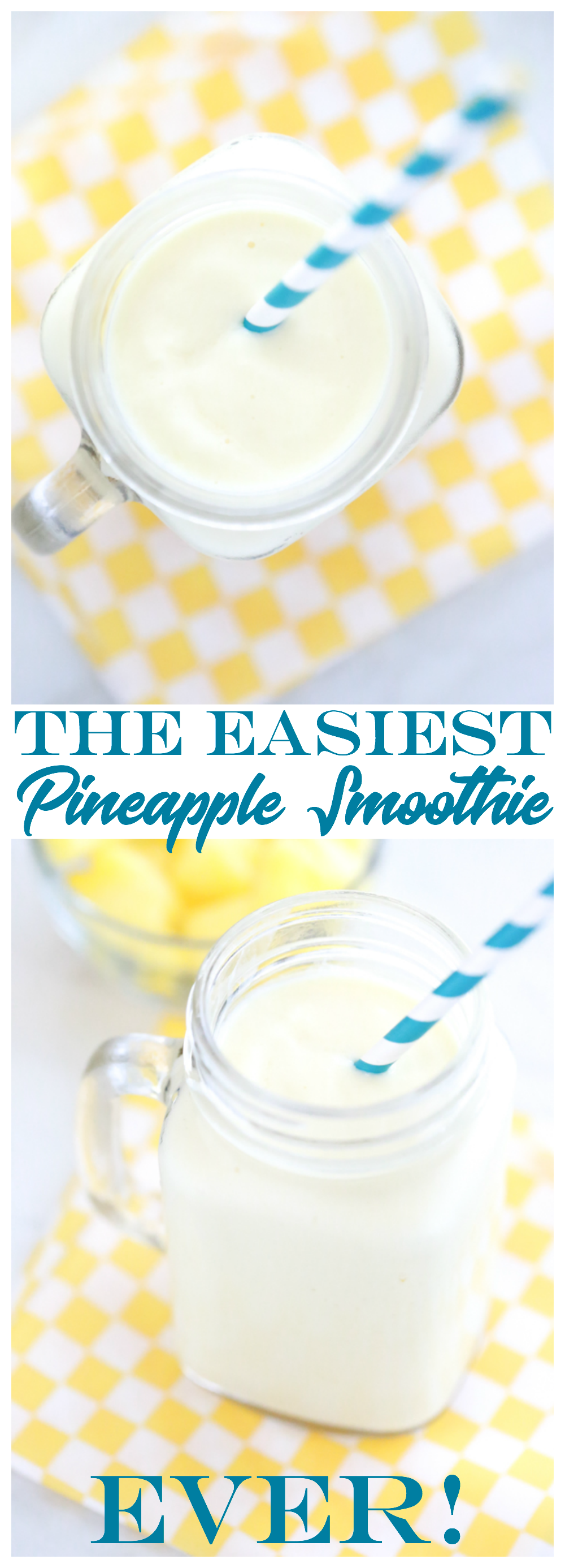 You can make the Easiest Pineapple Smoothie ever using just two simple ingredients. The best part, it tastes GREAT!