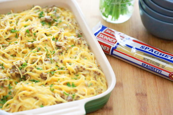 If you want a delicious, easy dinner, ready to go in an hour, try making this Beefy Cheesy Baked Spaghetti for dinner tonight!