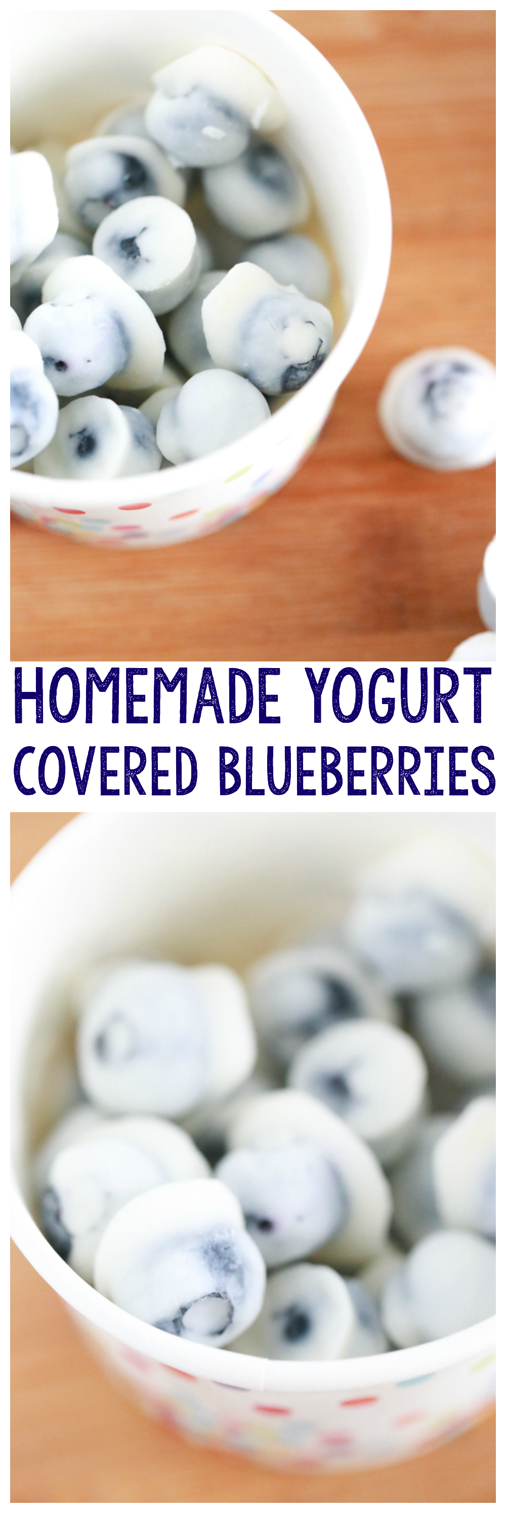 For a fun, popable treat this summer, enjoy these Homemade Yogurt Covered Blueberries. So easy to make and they taste delicious.