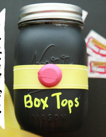 Make this adorable Mason Jar Box Tops Holder and earn valuable Box Tops for your child's school while you're at it.