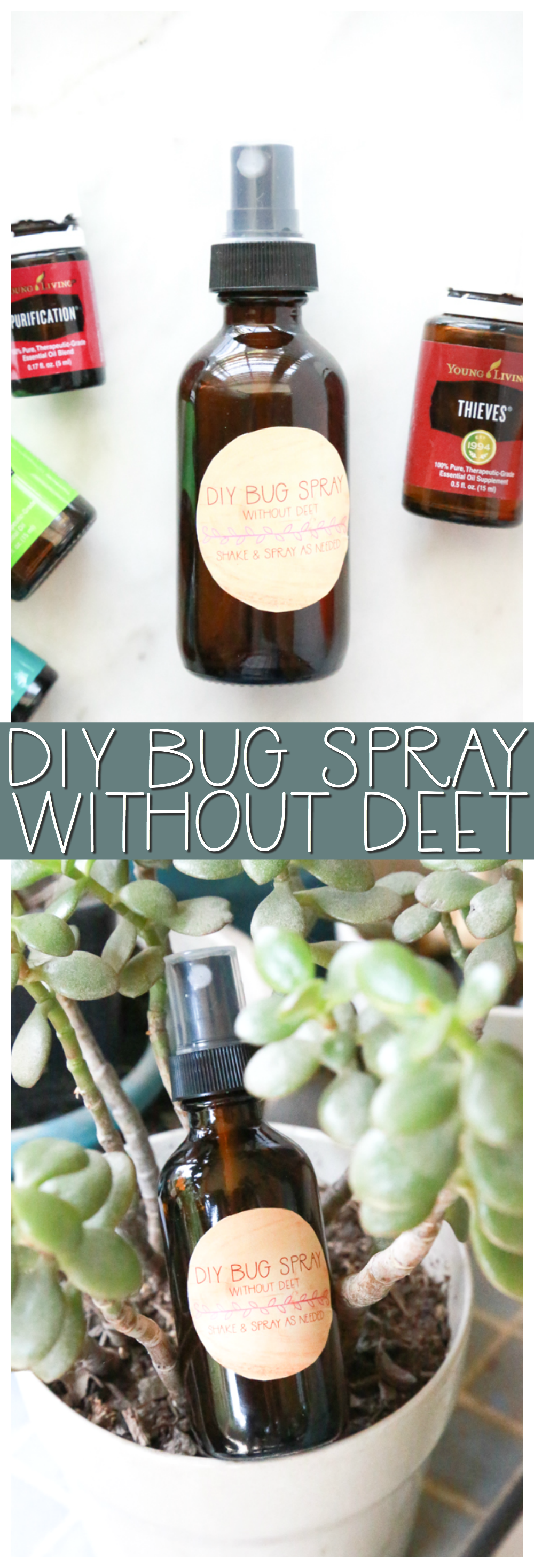 Make your own DIY Bug Spray without DEET to keep harmful chemicals and bugs off your skin.