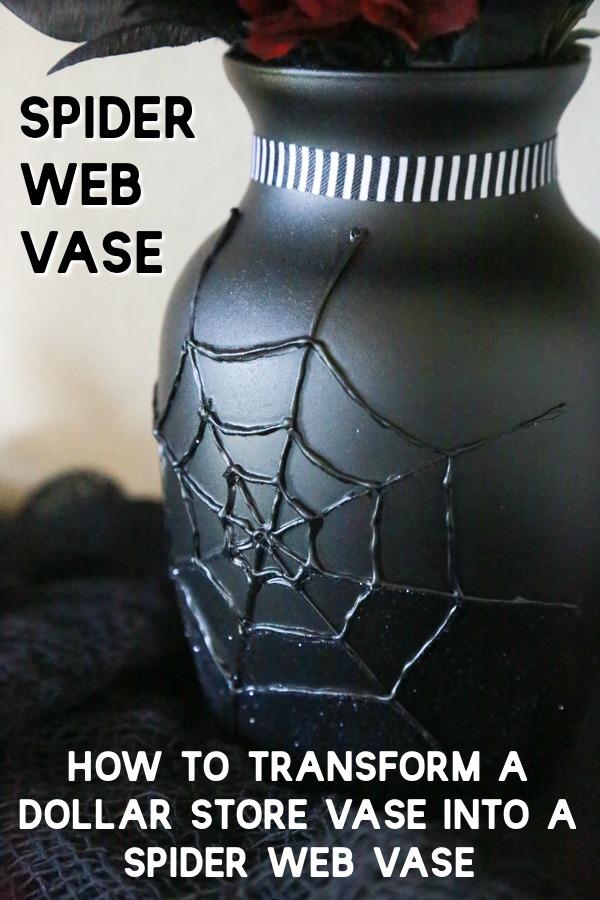 diy spider web vase