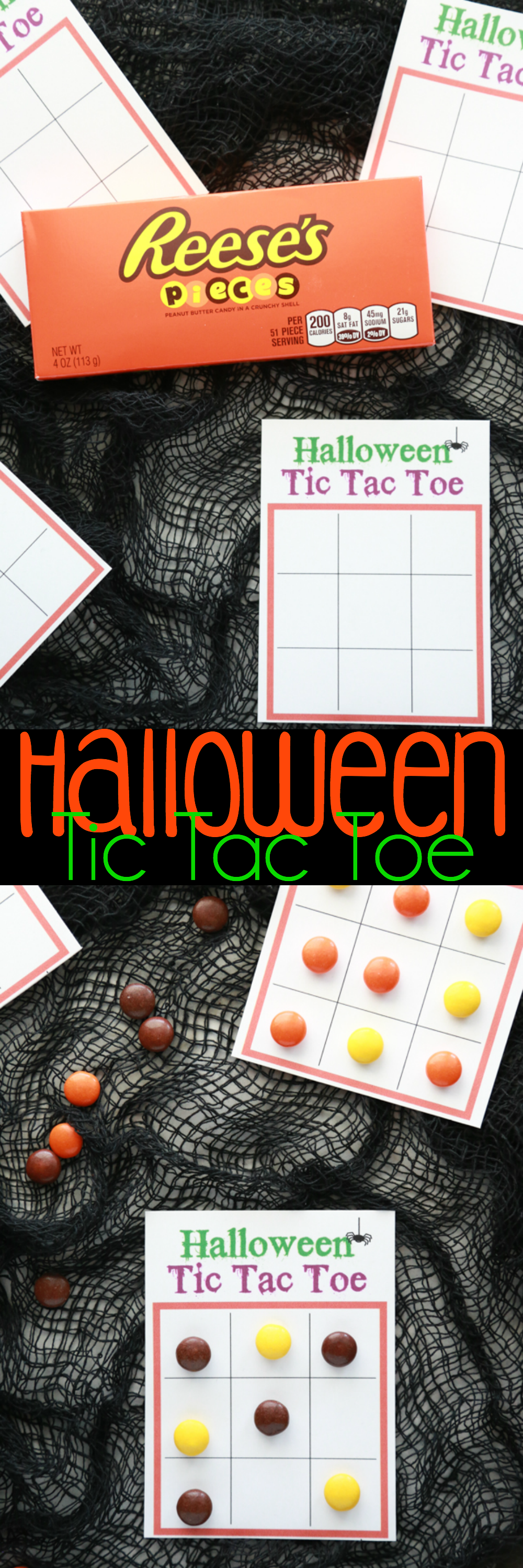 If you love to play a traditional game of Tic Tac Toe, then you'll love playing a fun game of Halloween Tic Tac Toe with this free printable and candy.