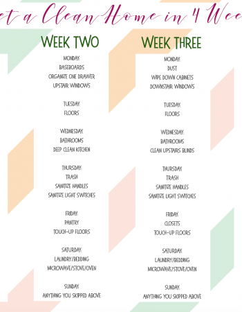 Is your home a wreck? Mine was too. Until I said enough is enough and created this Clean Home in 4 Weeks printable. Now my home is clean, and I'm sane.