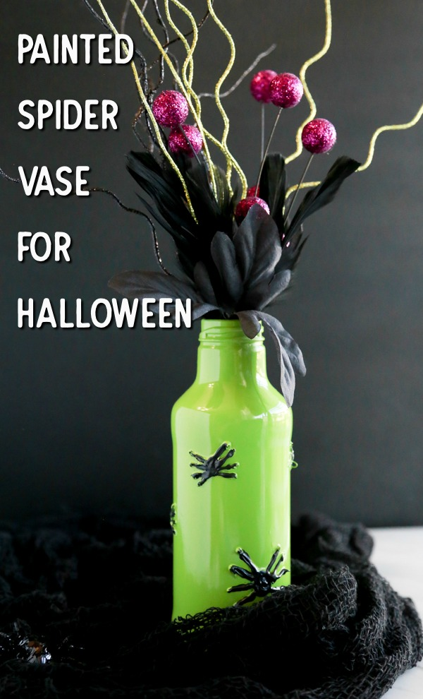 painted spider vase for halloween