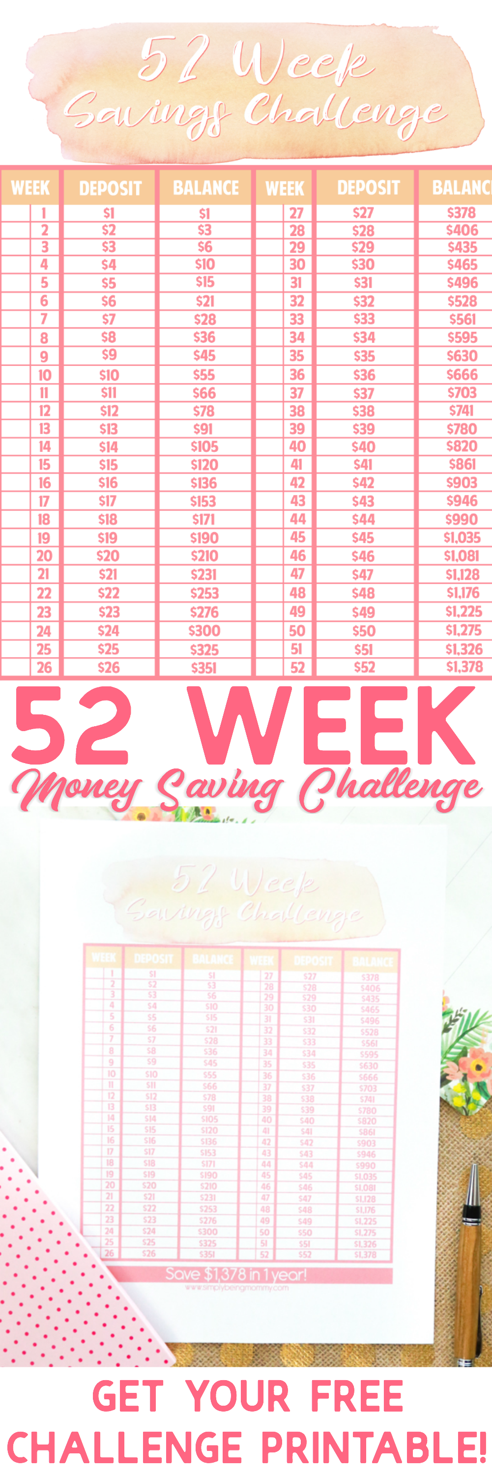 Is one of your goals for the new year to save money? Get your FREE 52 Week Money Saving Challenge Printable now!