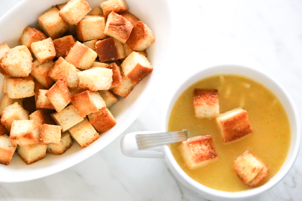 Tis the season for the sniffles, sneezes, and chicken noodle soup. Enjoy a bowl of hot soup with these Easy Homemade Croutons.