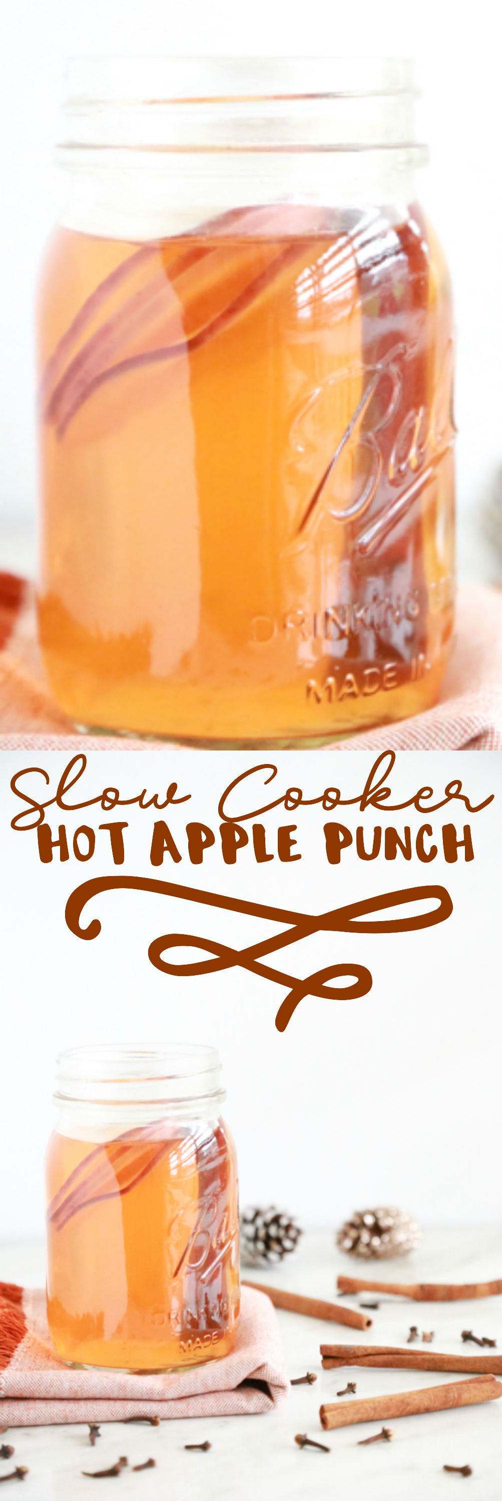 Enjoy the flavors of the season with this Slow Cooker Hot Apple Punch. This non-alcoholic holiday beverage is perfect for everyone at your parties.