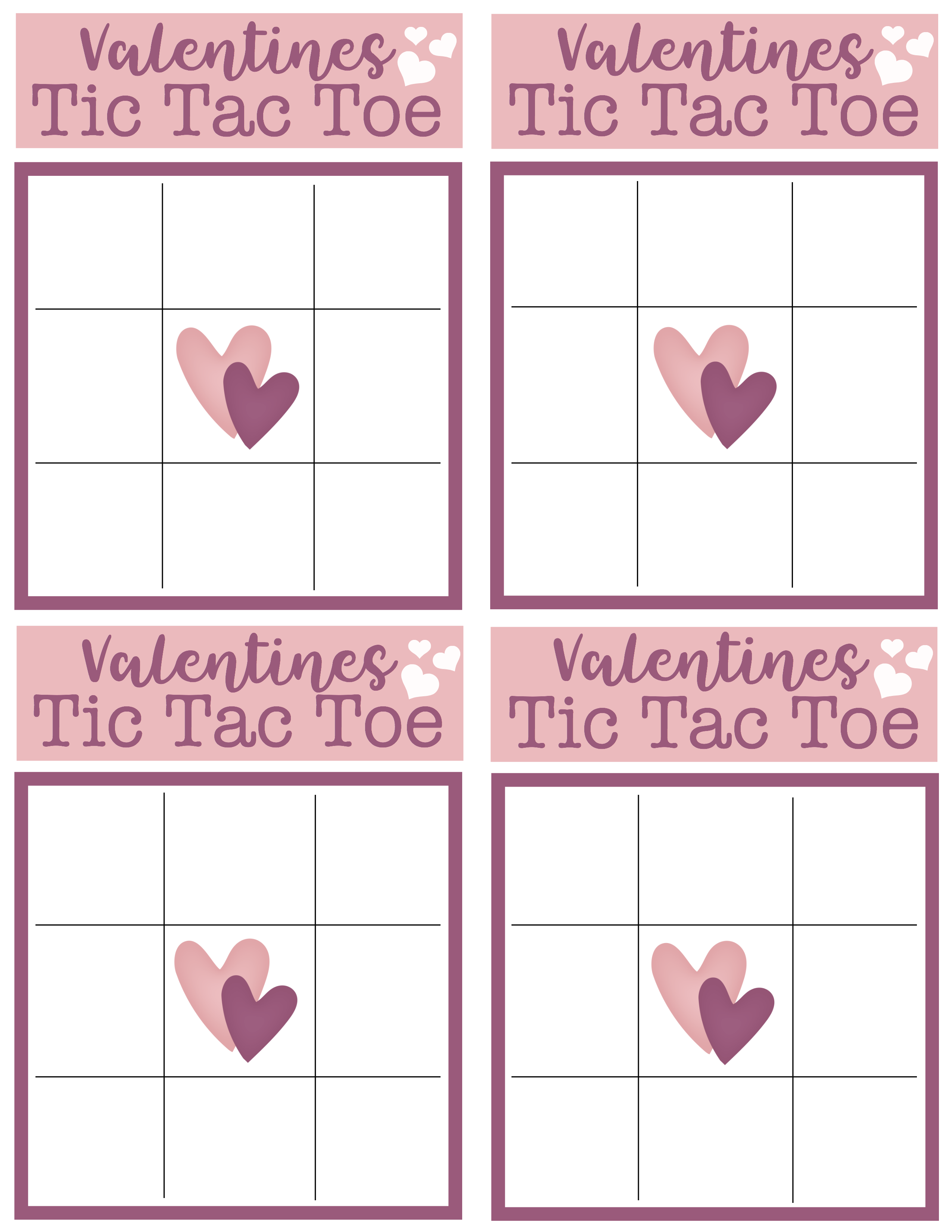 Challenge your friends and family to a fun game of Valentines Tic Tac Toe with this FREE Valentines Tic Tac Toe printable.