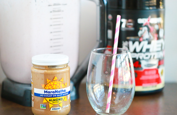 PB&J's take me back to a time where my biggest worry was whether or not a friend could come over to play. Although my worries are much bigger now, I still love a good PB&J. With my resolution for a better me, I've traded in my traditional PB&J for a Almond Butter and Jelly Protein Smoothie.