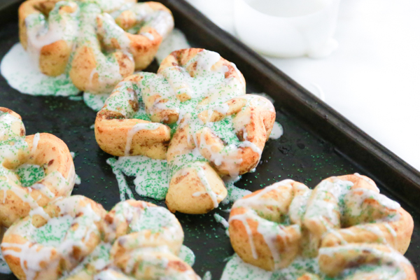 Cinnamon rolls shaped into a shamrock for St. Patrick's day