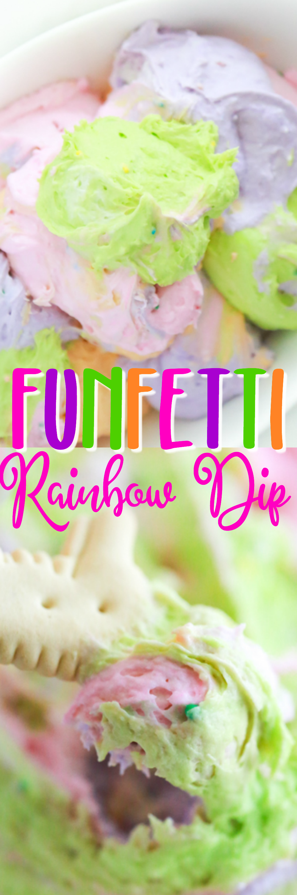 a bowl full of different colored dips to make a funfetti rainbow dip