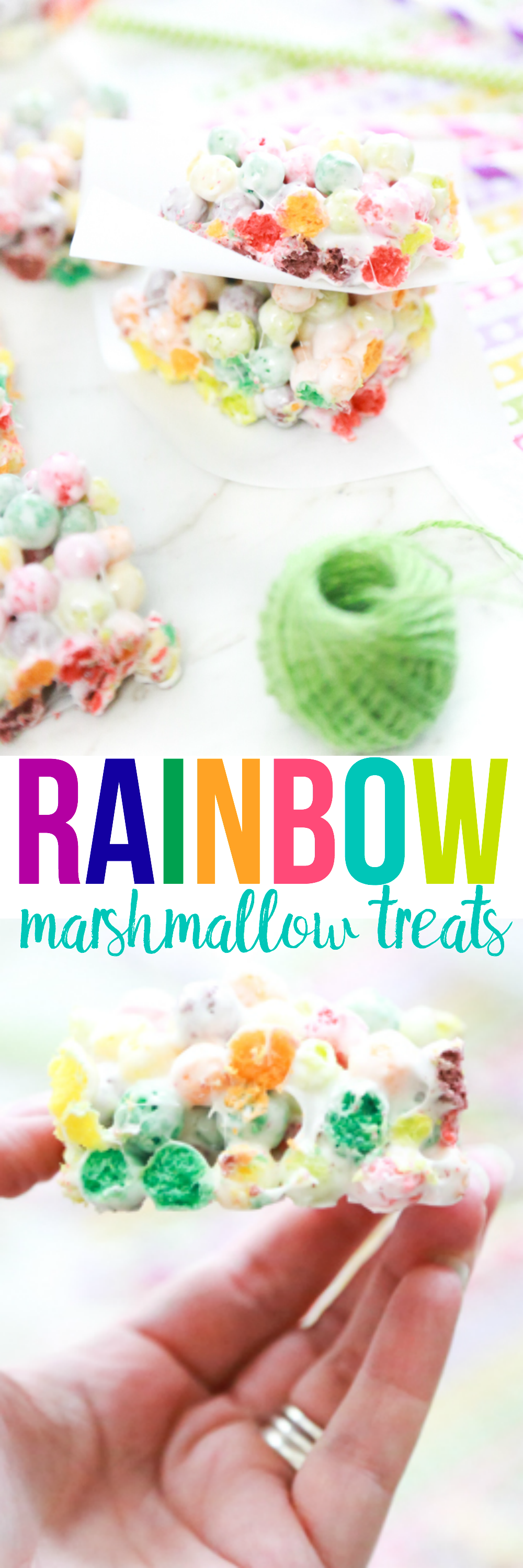 a collage of photos featuring rainbow marshmallow treats