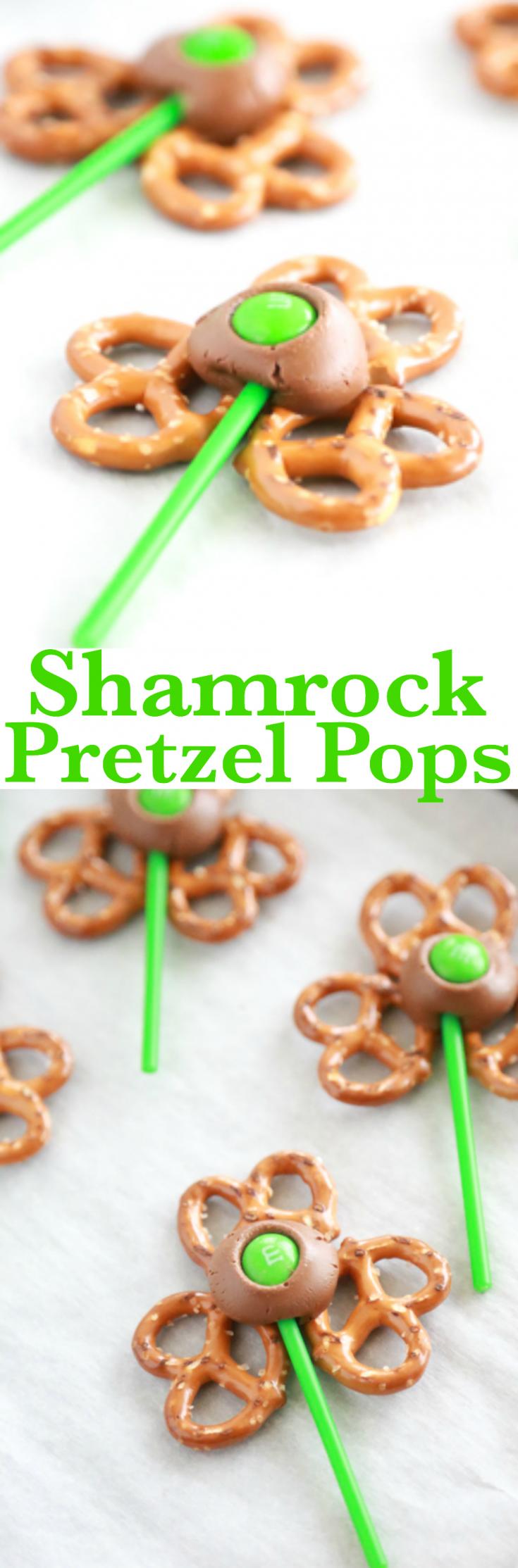 If you have 5 minutes, you have all the time it takes to make these Shamrock Pretzel Pops. #StPatricksDay #StPattysDay #Shamrock