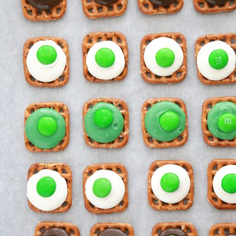 For an easy St. Patrick's Day treat, pick up 3 simple ingredients and make these Easy St. Patrick's Day Pretzel Bites.