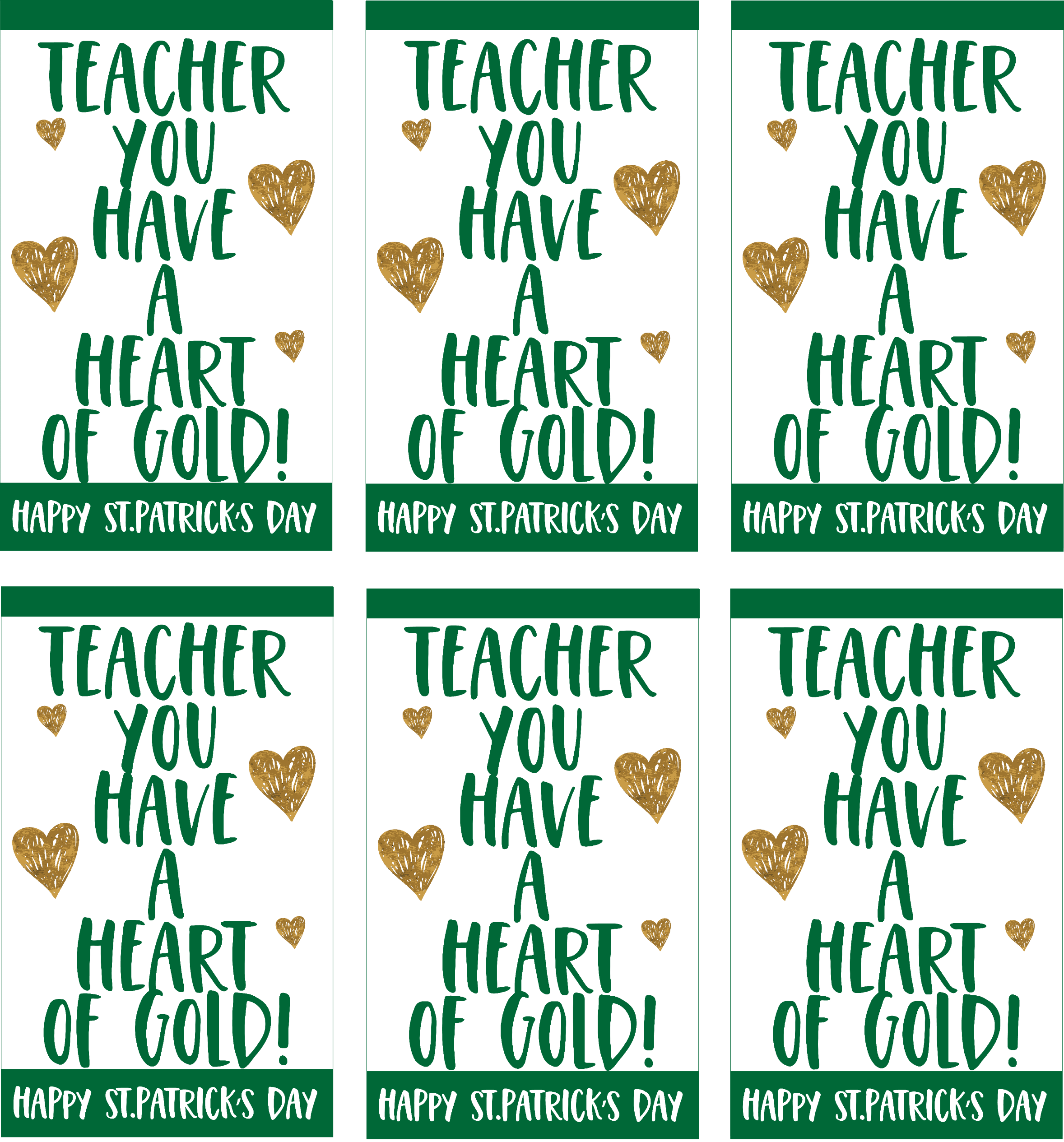 Teacher You Have a Heart of Gold Gift Tags