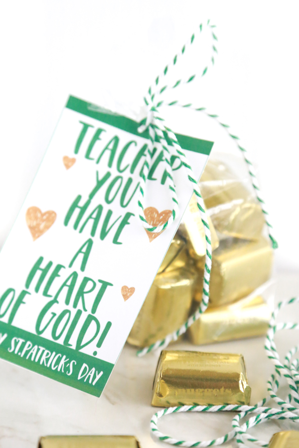 Teacher You Have a Heart of Gold gift tag with gold wrapped chocolate nuggets