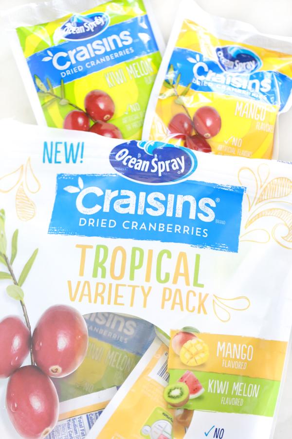 an open bag of ocean spray craisins tropical variety pack