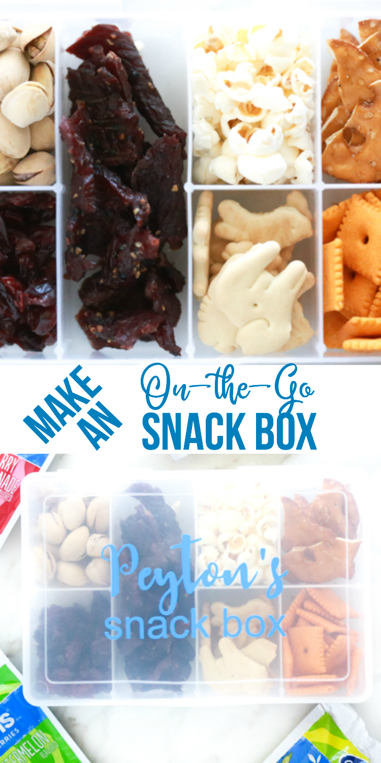 a collage of snacks to include in an on-the-go snack box