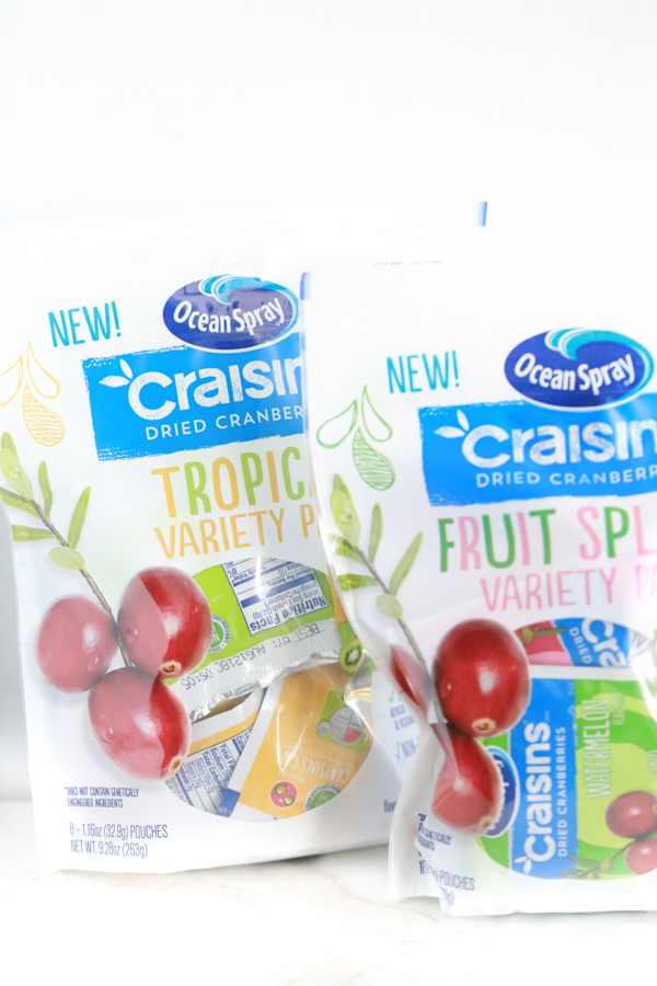 two bags of ocean spray craisins to make an on-the-go snack box