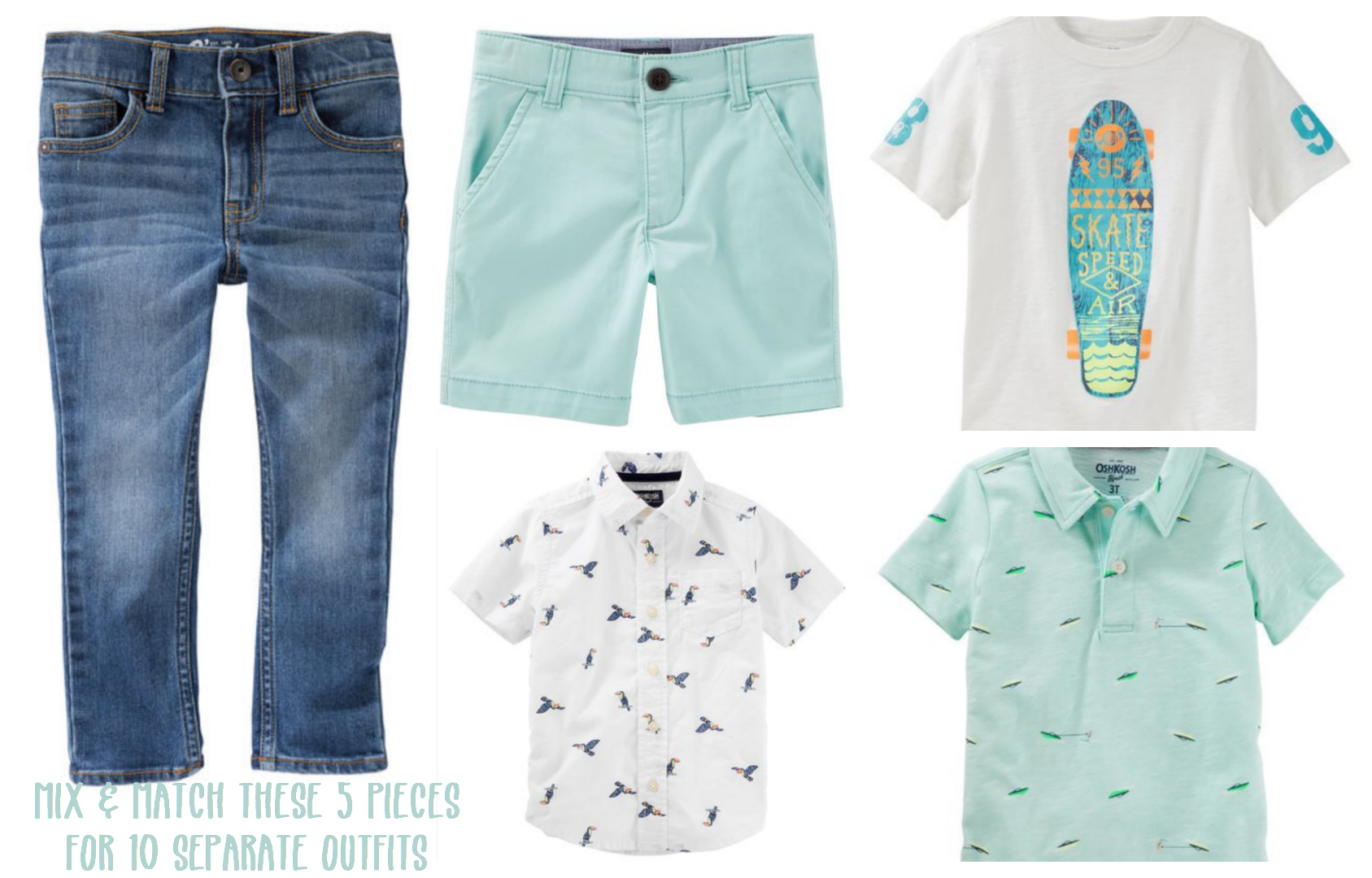 5 pieces of spring style that can be found at Oshkosh B'gosh - perfect spring styles at oshkosh b'gosh