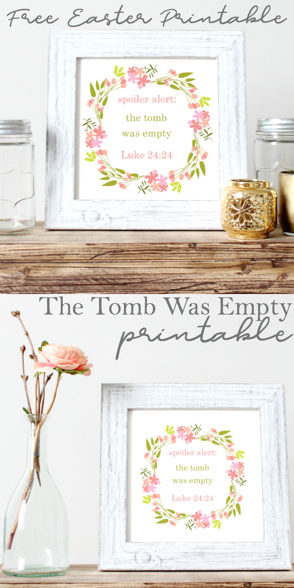 Spoiler Alert The Tomb Was Empty printable in a white fram sitting on a wood desk