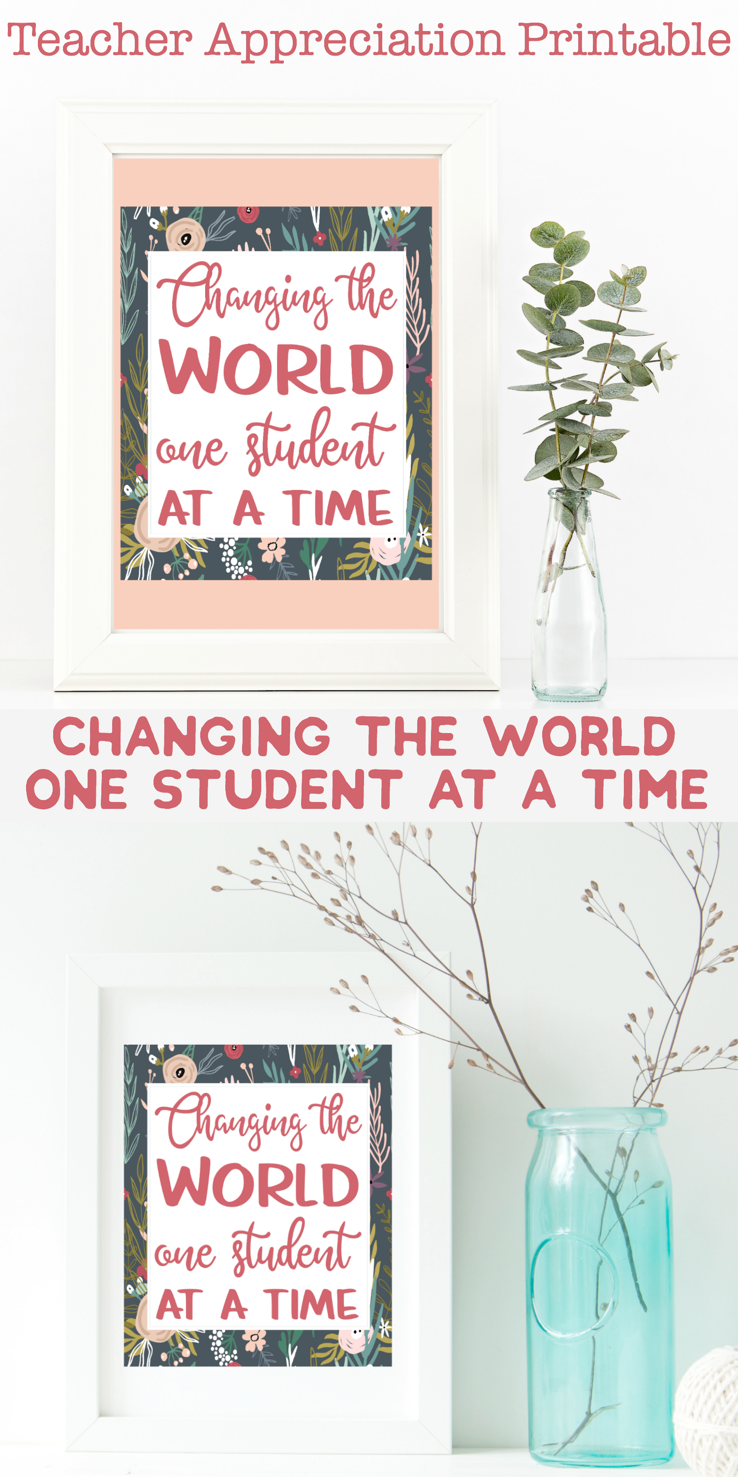 Know a teacher? Want a way to show your appreciation? This Changing the World One Student at a Time printable makes the perfect gift for teacher appreciation.