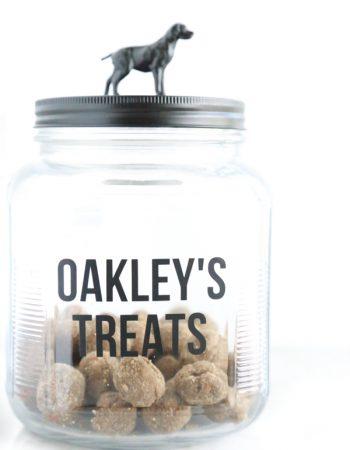 a glass jar transformed into a homemade dog treat jar