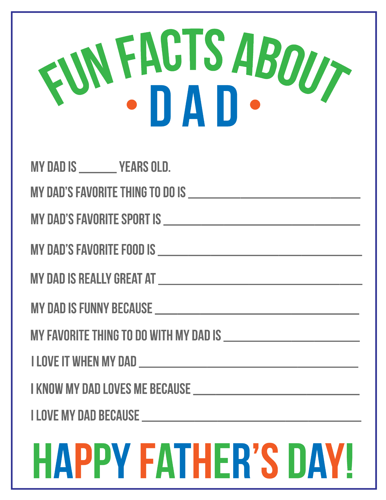 picture regarding All About My Dad Printable identify Enjoyment Information and facts Around Father Printable for Fathers Working day Conveniently