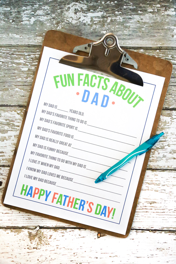 Print the FREE Fun Facts About Dad Printable for Father's Day so that your kids can surprise Dad on his special day.