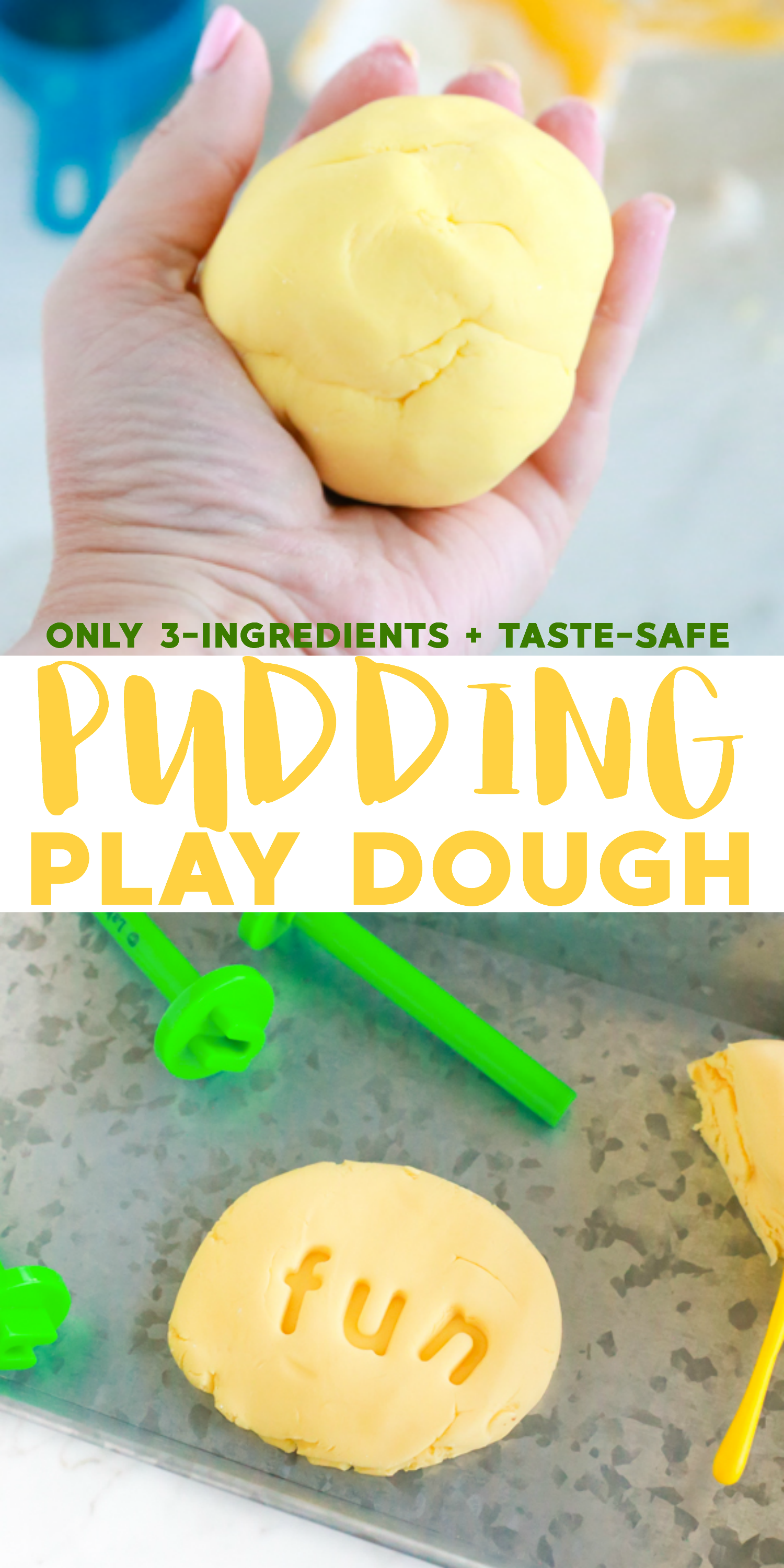 If you're looking for a fun and easy activity to keep those little hands occupied, this 3-ingredient Pudding Play Dough is the perfect choice. It's so easy to make and it smells so good when you're playing with it.